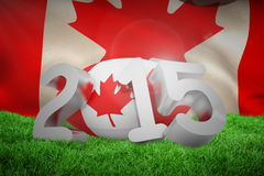 Composite image of canada rugby 2015 message. Canada rugby 2015 message  against close-up of waving canadian flag Stock Images