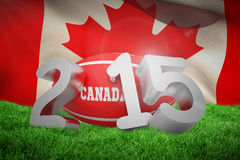 Composite image of canada rugby 2015 message. Canada rugby 2015 message  against close-up of waving canadian flag Royalty Free Stock Photo