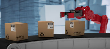 Composite image of cardboard boxes on 3d production line Stock Photo
