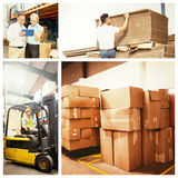 Composite image of cardboard boxes in warehouse Stock Photography