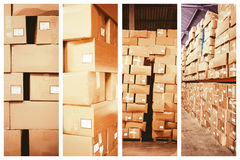 Composite image of cardboard boxes in warehouse Stock Photo