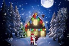Composite image of cartoon santa reading his list Royalty Free Stock Photo