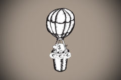 Composite image of cash in hot air balloon doodle Stock Photo