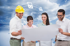 Composite image of casual architecture team working together Royalty Free Stock Photo