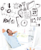 Composite image of casual man resting with hands behind head in office Stock Photos