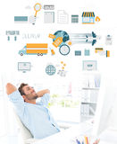 Composite image of casual man resting with hands behind head in office Stock Image