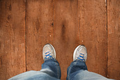 Composite image of casually dressed mans feet Royalty Free Stock Images