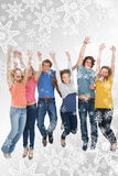 Composite image of celebrating friends jumping in the air Royalty Free Stock Image