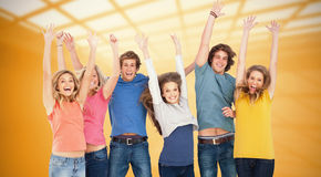 Composite image of celebrating friends jumping in the air Royalty Free Stock Photo