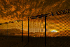 Composite image of chainlink fence against white background 3d Stock Photos