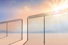 Composite image of chainlink fence against white background 3d Stock Image