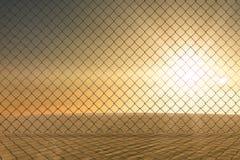 Composite image of chainlink fence against  white background. Chainlink fence against  white background against desert scene Stock Images