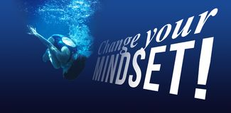 Composite image of change your mindset message on a white background. Change your mindset message on a white background against man swimming in blue water Stock Photos