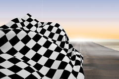 Composite image of checkered flag Stock Photos
