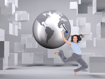 Composite image of cheerful businesswoman jumping while holding megaphone Royalty Free Stock Photography