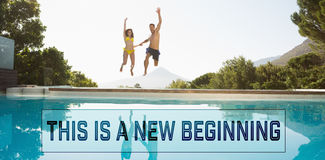 Composite image of cheerful couple jumping into swimming pool stock photos