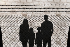 Composite image of cheerful family holding hands Royalty Free Stock Photo
