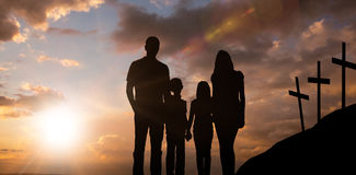 Composite image of cheerful family holding hands Royalty Free Stock Photos