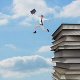 Composite image of cheerful jumping businessman with his suitcase Royalty Free Stock Images