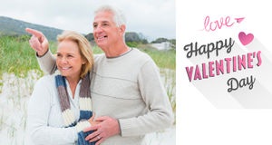 Composite image of cheerful romantic senior couple at beach Stock Photos