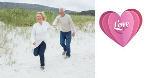 Composite image of cheerful senior couple running at beach Royalty Free Stock Images