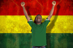 Composite image of cheering football fan in green jersey Royalty Free Stock Photography