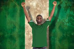 Composite image of cheering football fan in green jersey Stock Photography