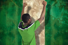 Composite image of cheering football fan in green jersey Stock Photo