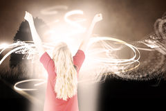 Composite image of cheering football fan in red Royalty Free Stock Photo