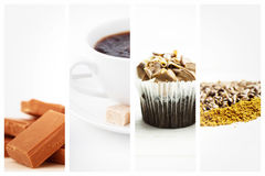 Composite image of chocolate pieces piled together Royalty Free Stock Images