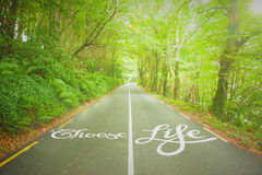 Composite image of choose life. Choose life against country road stock illustration