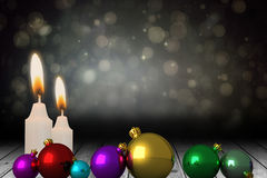Composite image of christmas baubles Stock Photography