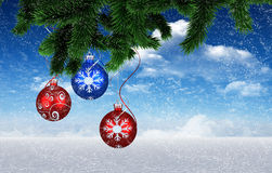 Composite image of christmas decorations Stock Photo