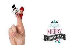 Composite image of christmas fingers. Christmas fingers against christmas message Stock Images