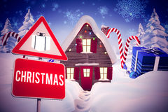 Composite image of christmas road sign Stock Photos