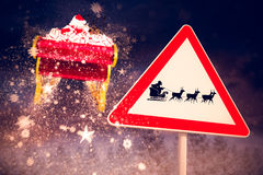 Composite image of christmas road sign Royalty Free Stock Photos