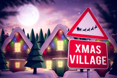 Composite image of christmas road sign Royalty Free Stock Photo