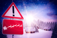Composite image of christmas road sign Royalty Free Stock Photography