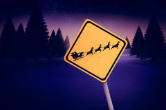 Composite image of christmas road sign Royalty Free Stock Images