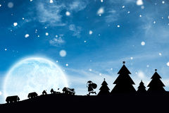 Composite image of christmas scene silhouette Stock Images