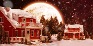 Composite image of christmas snow falling. Christmas snow falling against composite image of forest on snowy field Royalty Free Stock Photography