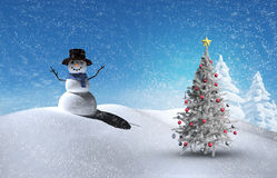 Composite image of christmas tree and snowman. Against snowy landscape with fir trees Stock Photo