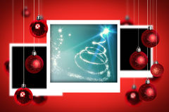Composite image of christmas tree spiral of light Stock Photos