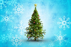 Composite image of christmas tree on white background Royalty Free Stock Photos