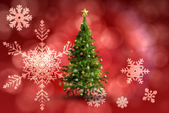 Composite image of christmas tree on white background. Christmas tree on white background against red snow flake pattern design Stock Photography