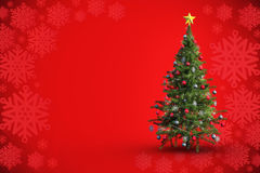 Composite image of christmas tree on white background. Christmas tree on white background against red snowflake design frame pattern Stock Image
