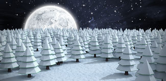 Composite image of christmas trees on field during winter Royalty Free Stock Images