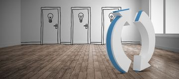 Composite image of circular arrow reset button. Circular arrow reset button against doodle doors in room Stock Photography