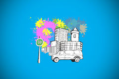 Composite image of city street with van on paint splashes Stock Photo
