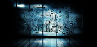 Composite image of cityscape with brainstorm doodle Royalty Free Stock Photos